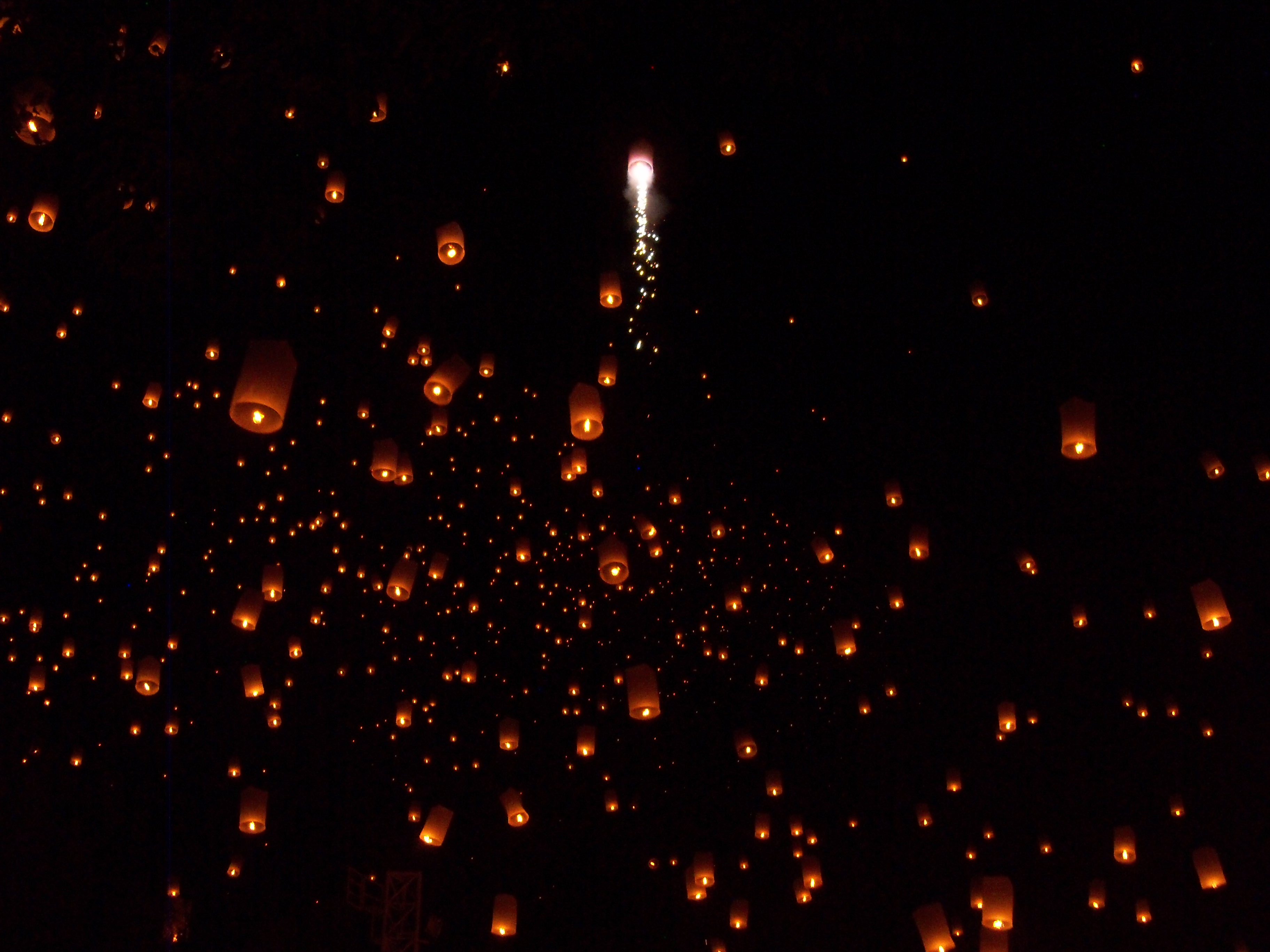 Some of the lanterns had fireworks, too